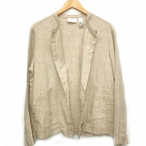 Liz Claiborne 100% Linen Jacket Top Button Down